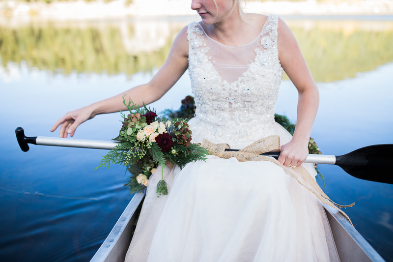 bride on the canoe