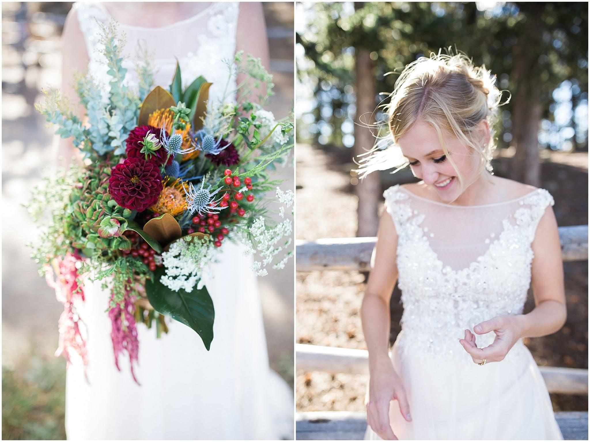 Colorado Mountain Wedding Photographer - green and maroon bridal bouquet