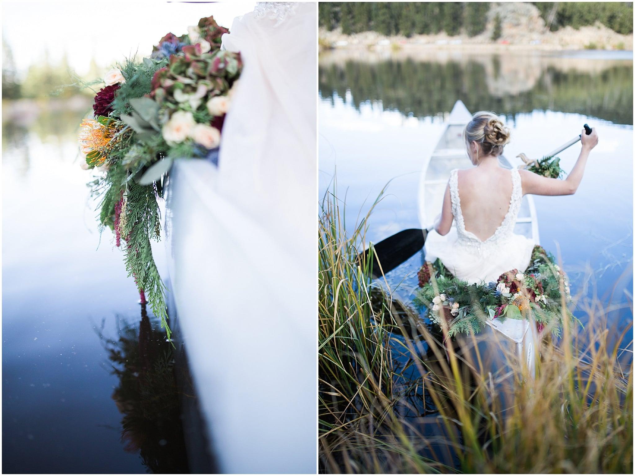 Colorado Mountain Wedding Photographer - bride rowing canoe with flowers