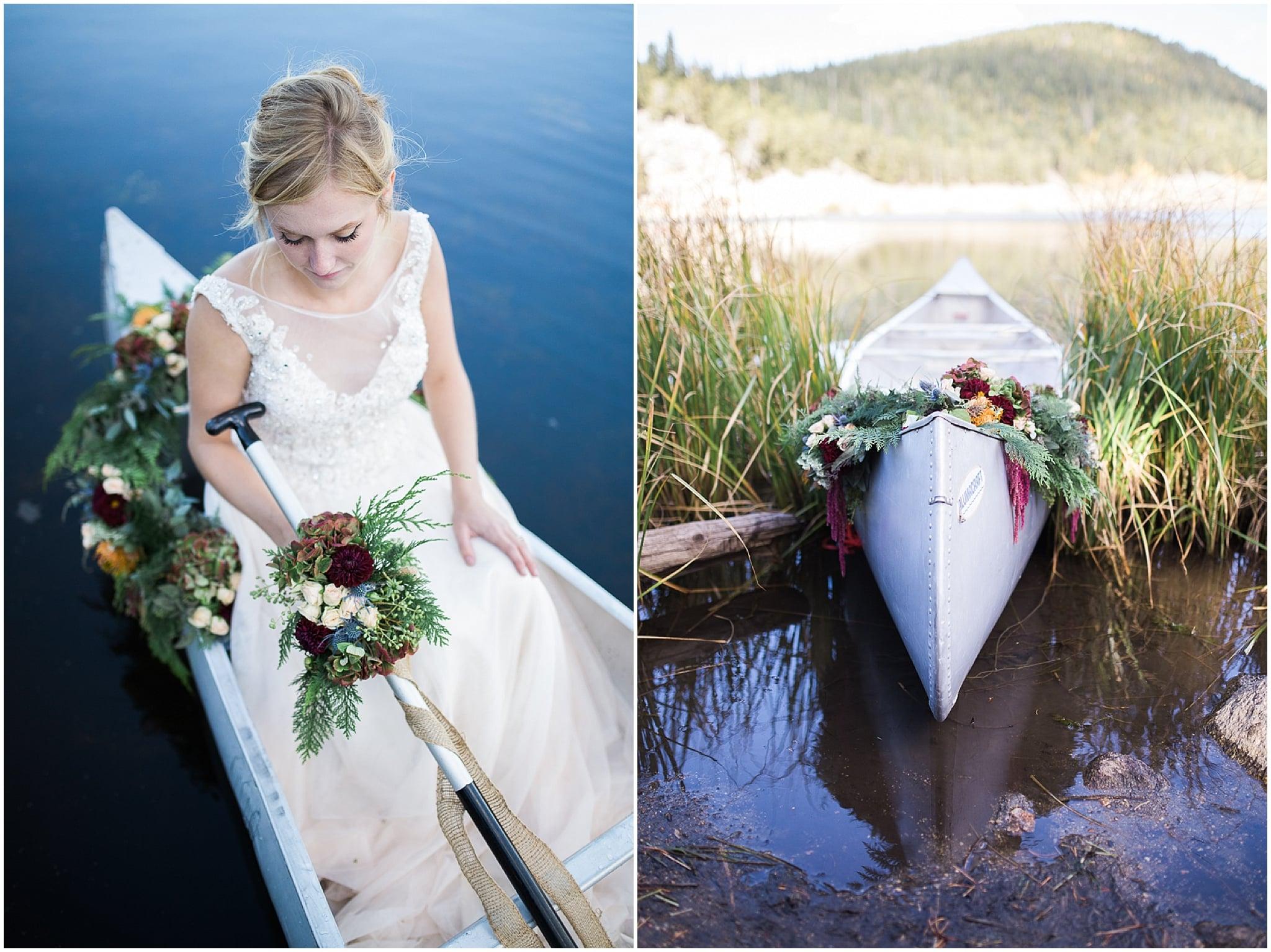 Colorado Mountain Wedding Photographer - canoe with flower garland