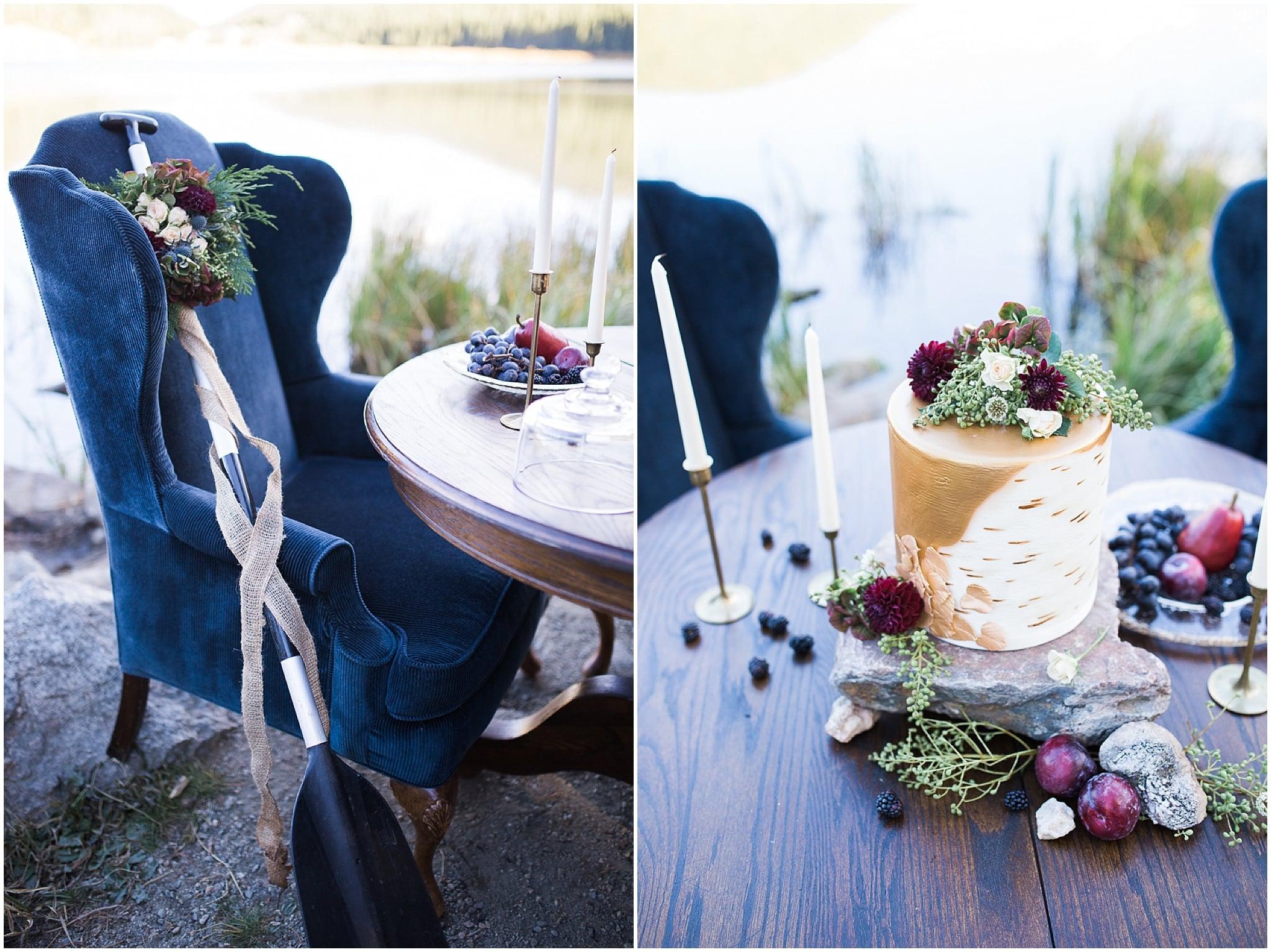 Colorado Mountain Wedding Photographer - rock cake stand
