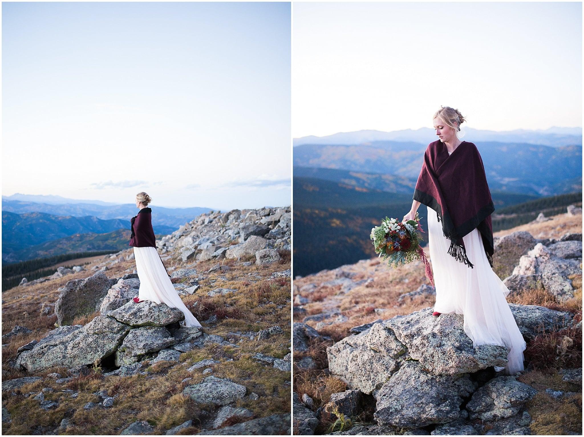 Colorado Mountain Wedding Photographer - colorado bride on top of mountain