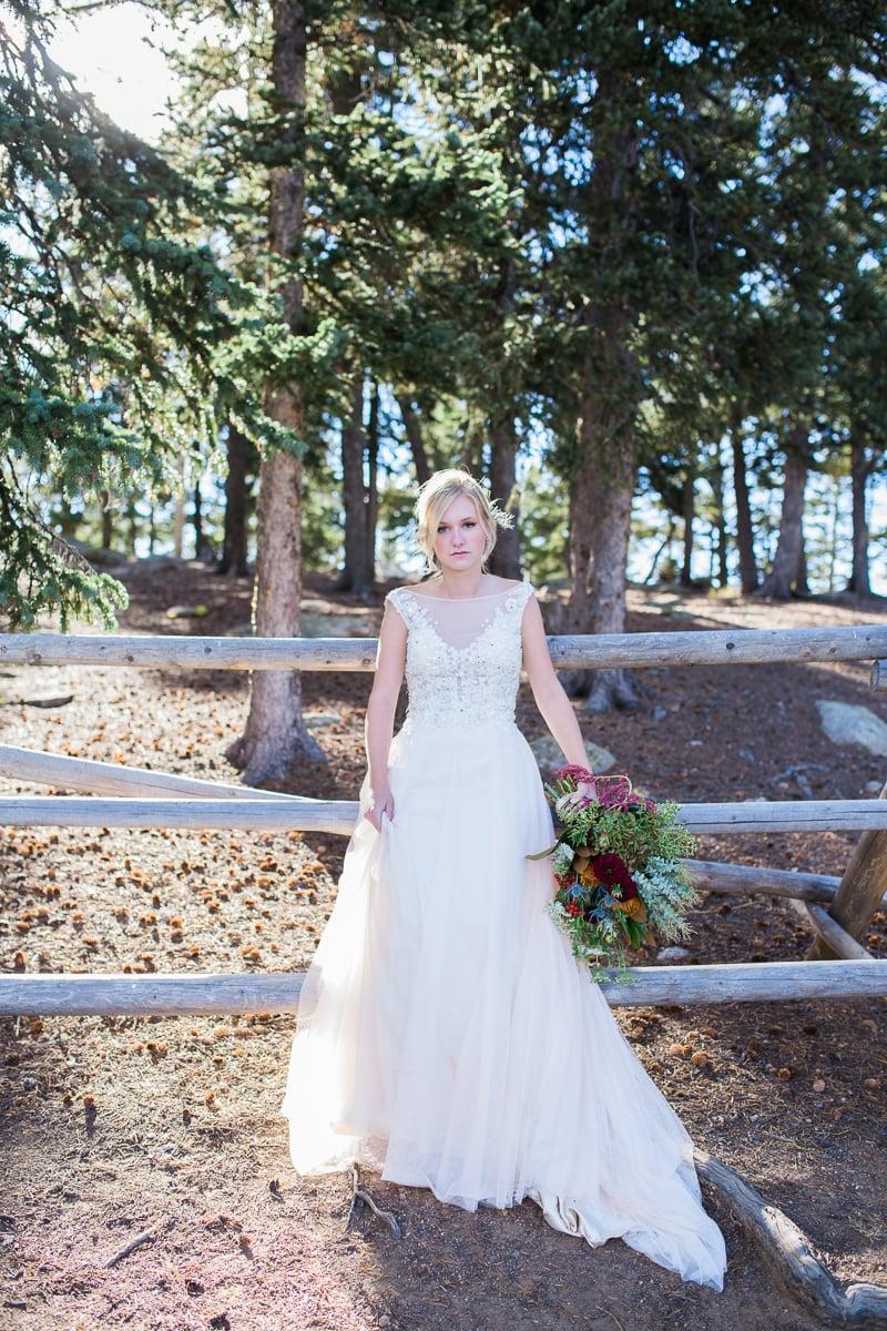 Colorado Mountain Wedding Photographer - bride in the woods