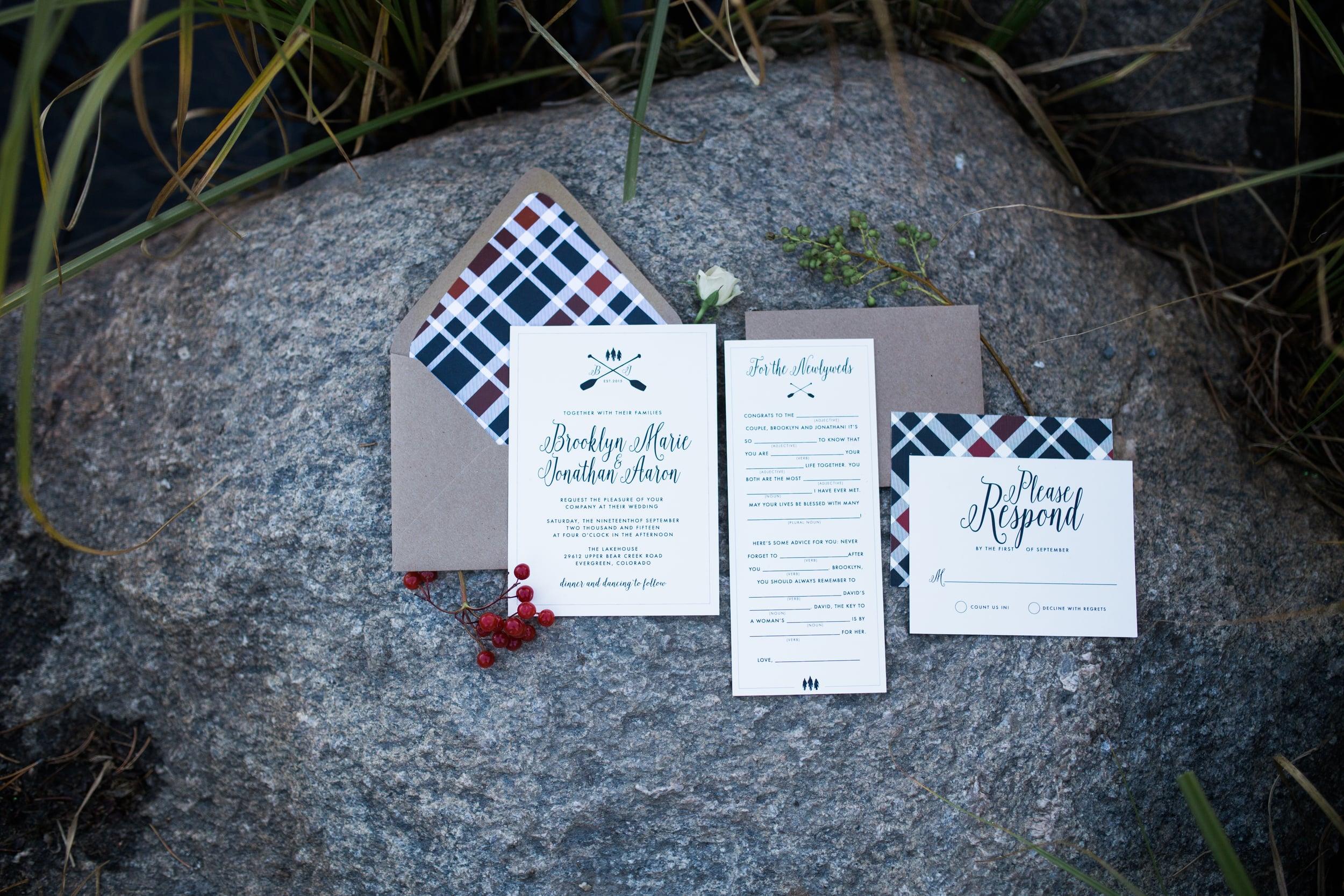 Colorado Mountain Wedding Photographer - plaid wedding invitation suite