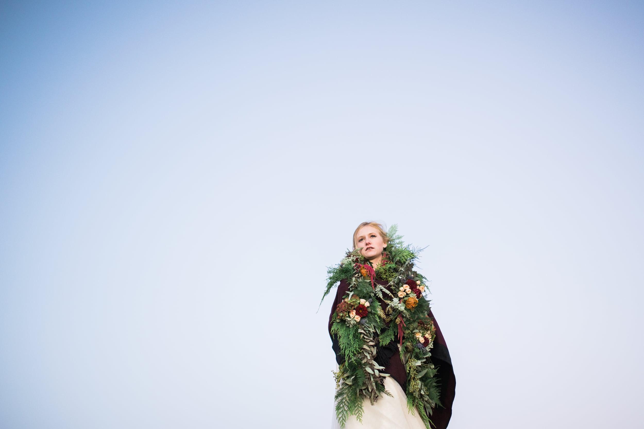 Colorado Mountain Wedding Photographer - bridal flower garland