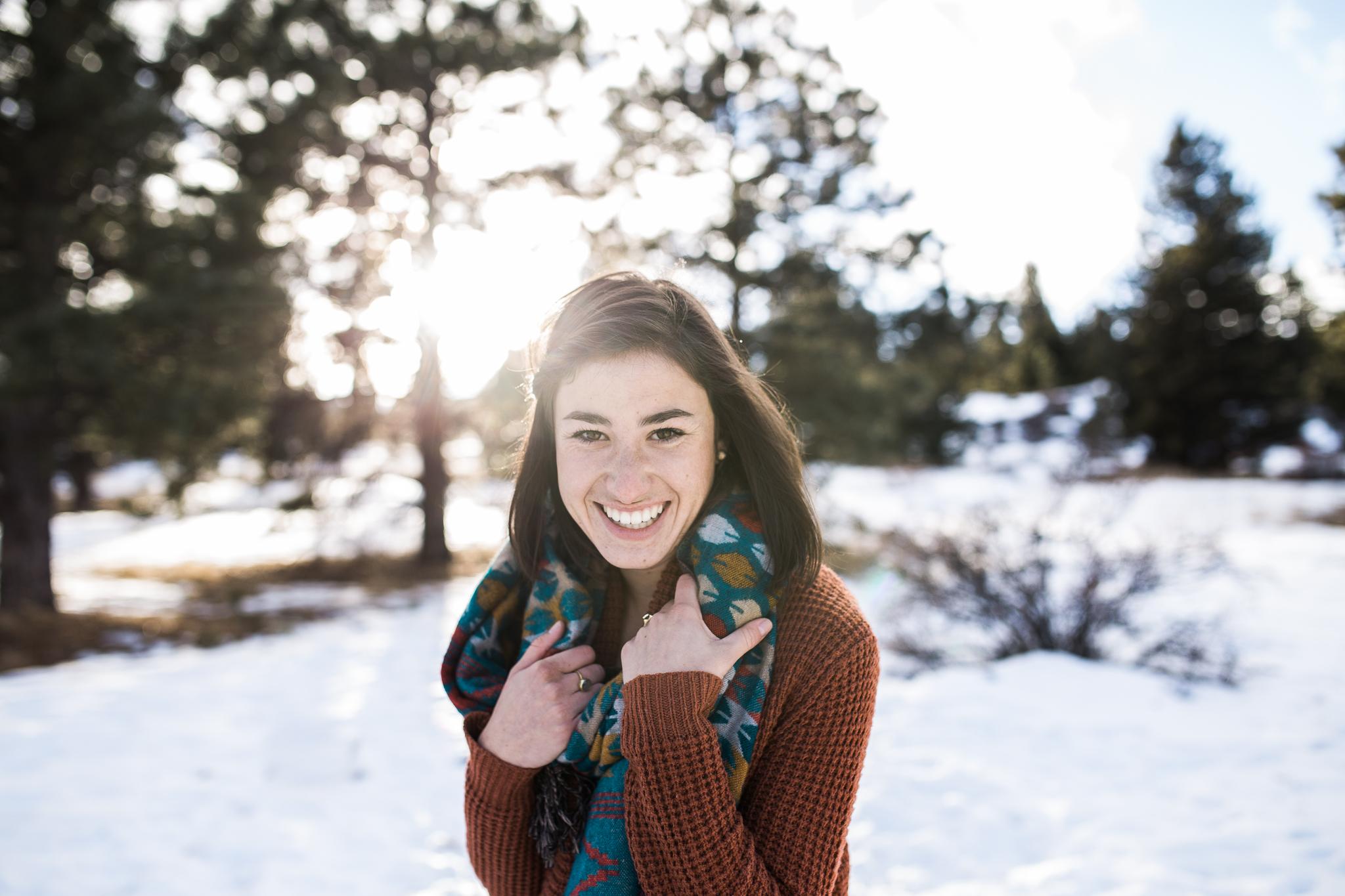 happy girl in the woods
