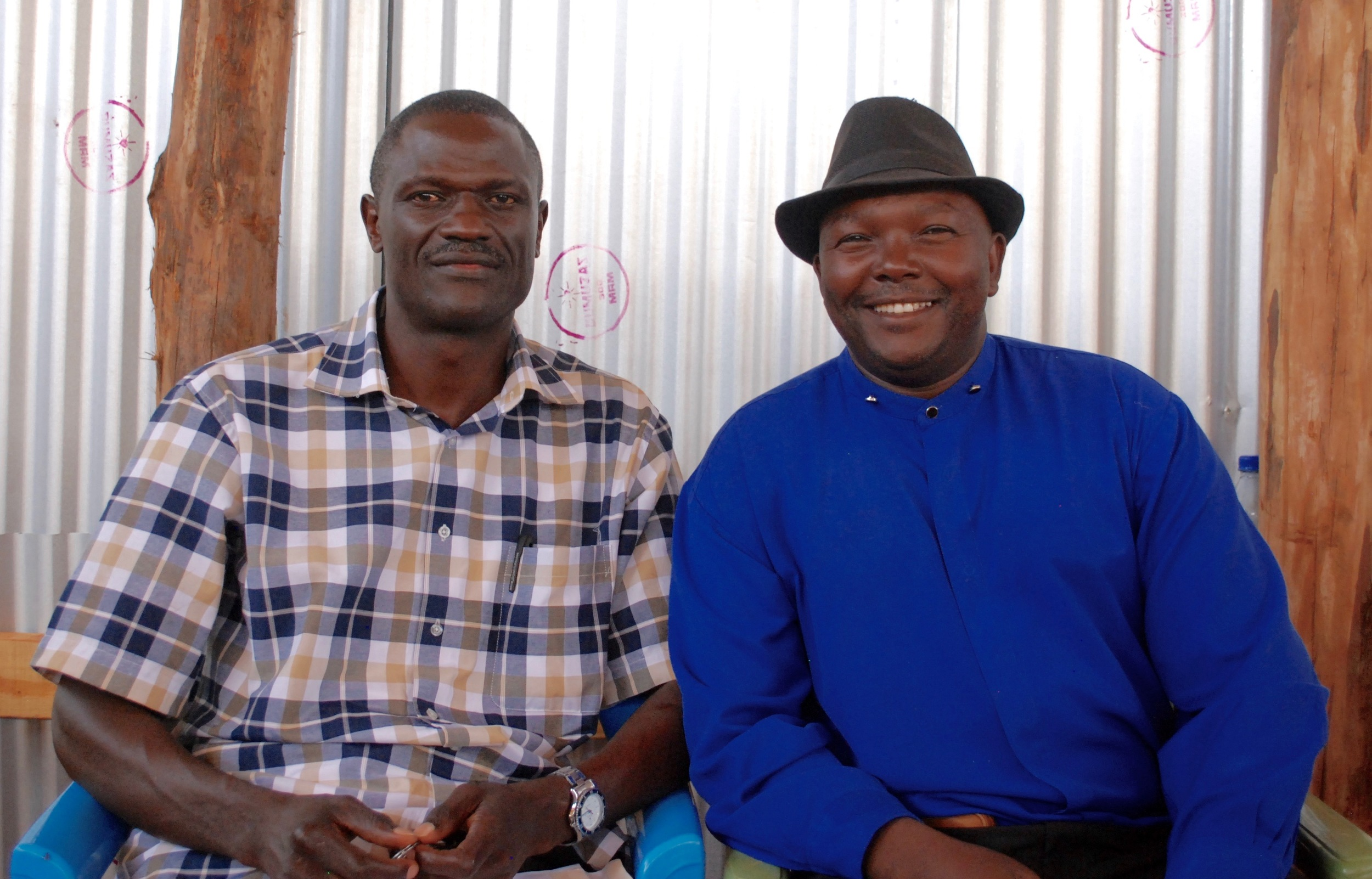 Pastor GG (right) with Bishop Achanga (left) while on mission this year in Bura town.