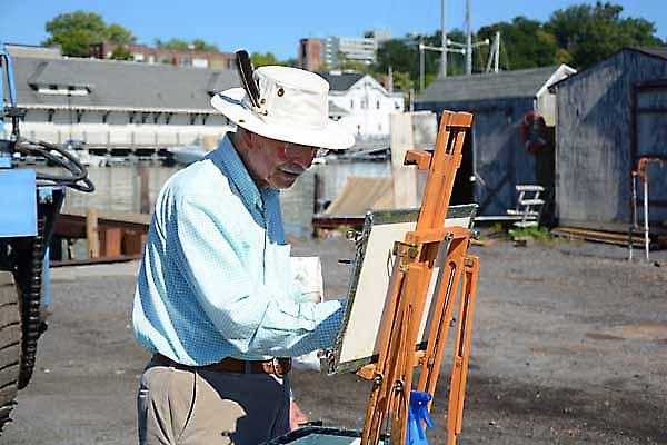 Gilbert Jordan, Signature Artist painting a watercolor at the 2014 GVPAP annual meeting