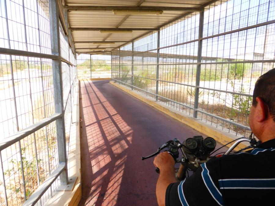Mototaxi through the walkway
