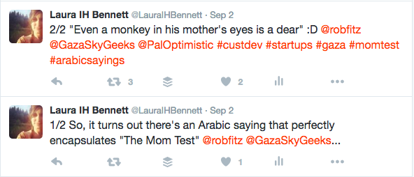 "Turns out ""The Mom Test"" is easy enough to explain in Arabic..."