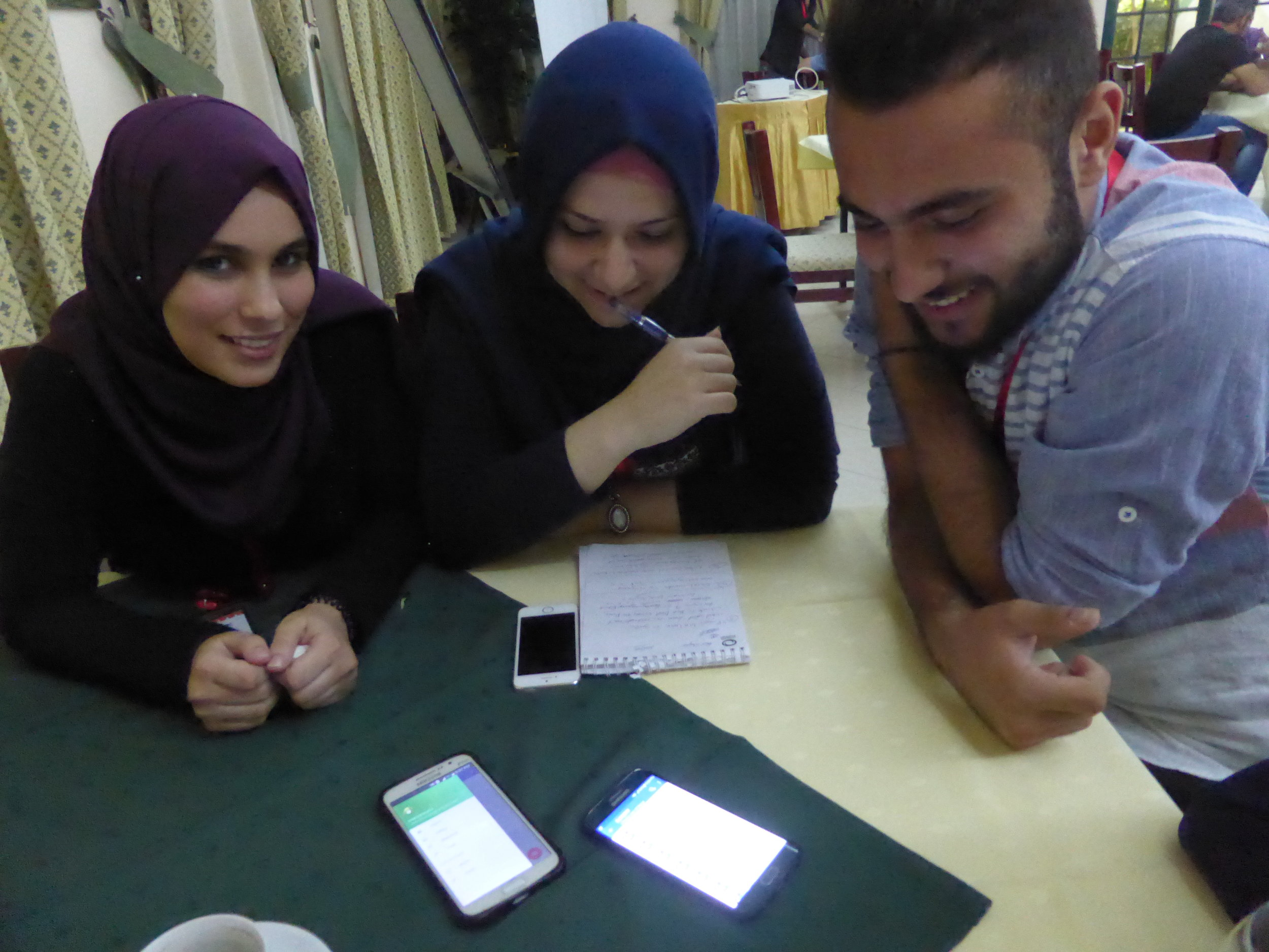 The team behind Legal Chat, showing me their prototype app.