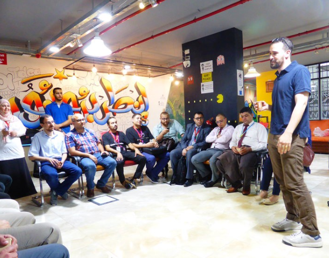A breakfast meeting for the main actors in Gaza's tech ecosystem at the Gaza Sky Geeks offices