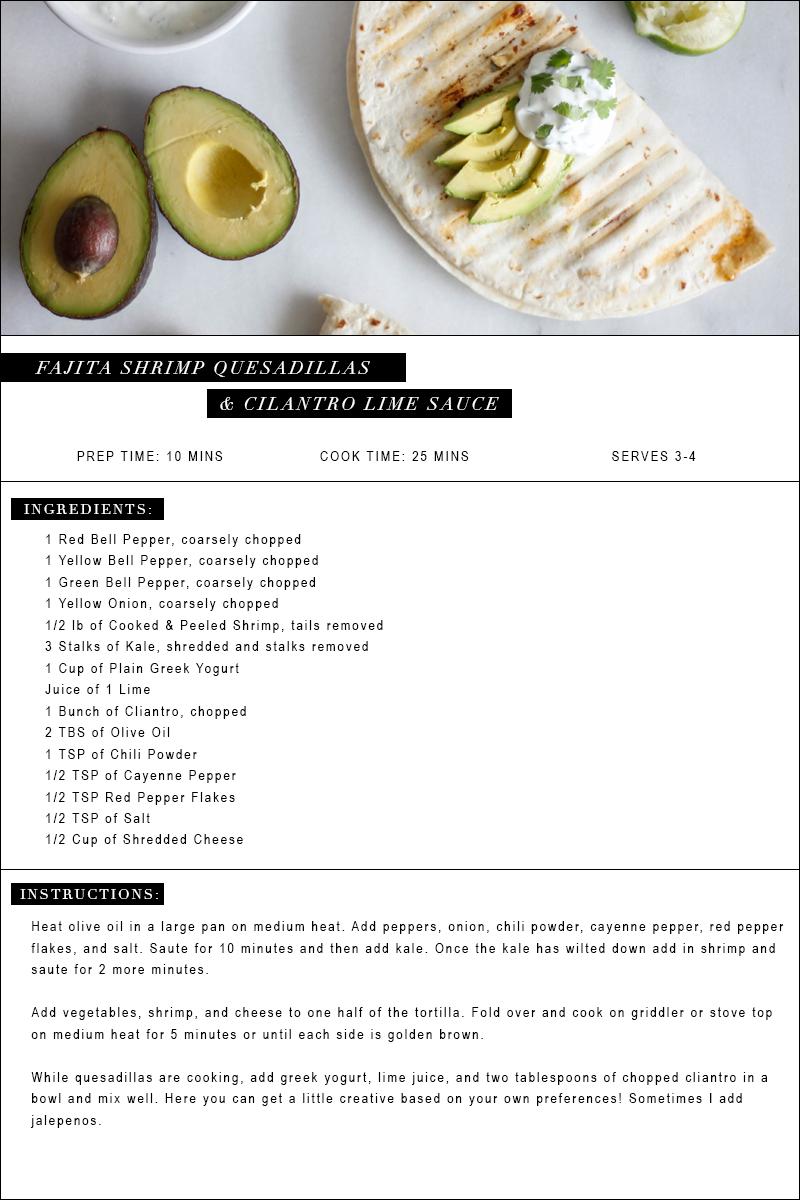 Shrimp Fajita Quesadillas with Cilantro Lime Sauce   Jennifer Diaz