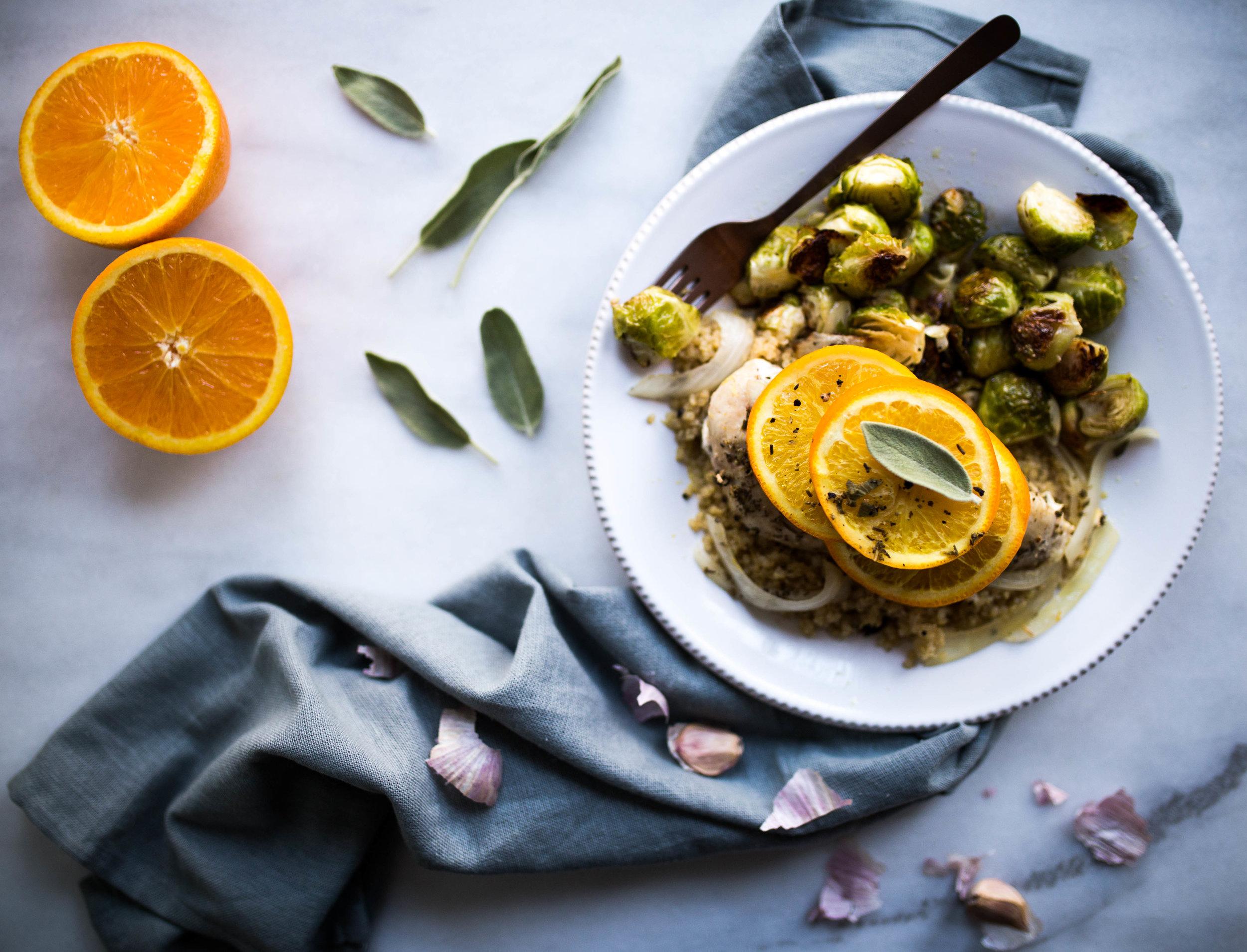 Orange Sage Chicken + Garlic Roasted Brussels Sprouts | Jennifer Diaz
