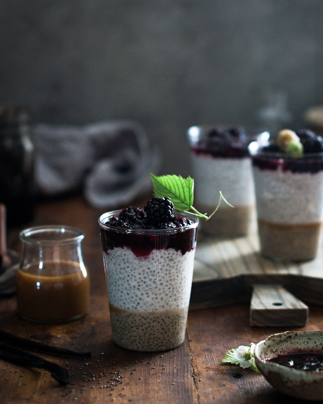 10 Healthy & Quick Options for Breakfast | Jennifer Diaz | Coconut Chia Salted Caramel Pudding + Smashed Blackberries by The Kitchen McCabe