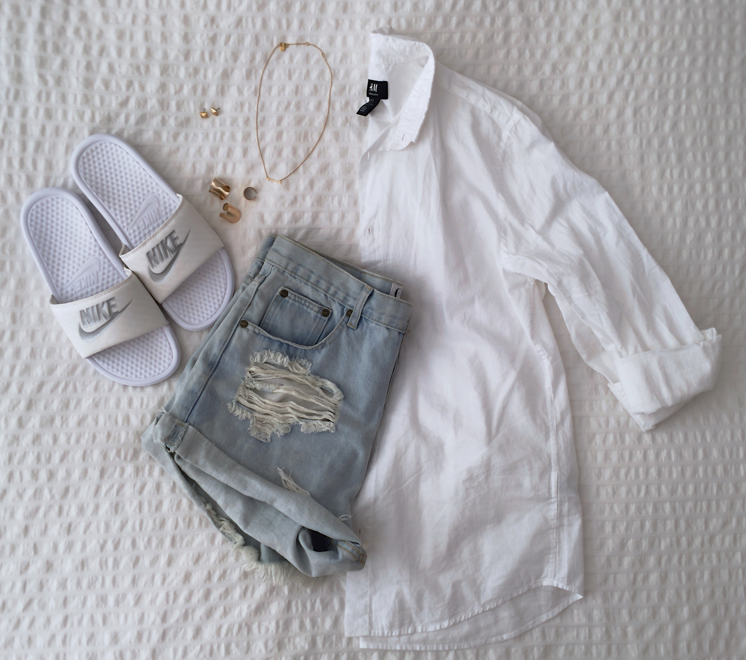 Nike sandals, ONE TEASPOON denim shorts, H&M blouse & gold rings, STELLA & DOT  On The Mark Necklace  +  C  leopatra Studs.