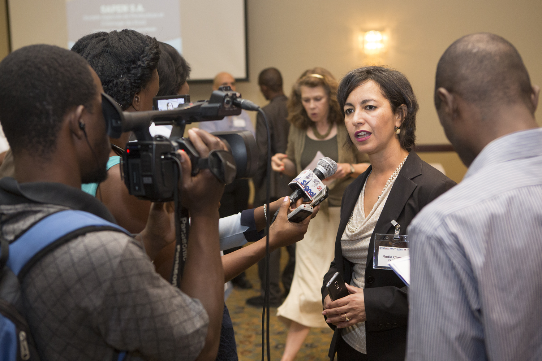 LEAD Project DirectorNadia Cherroukrespondsto questions from the press.