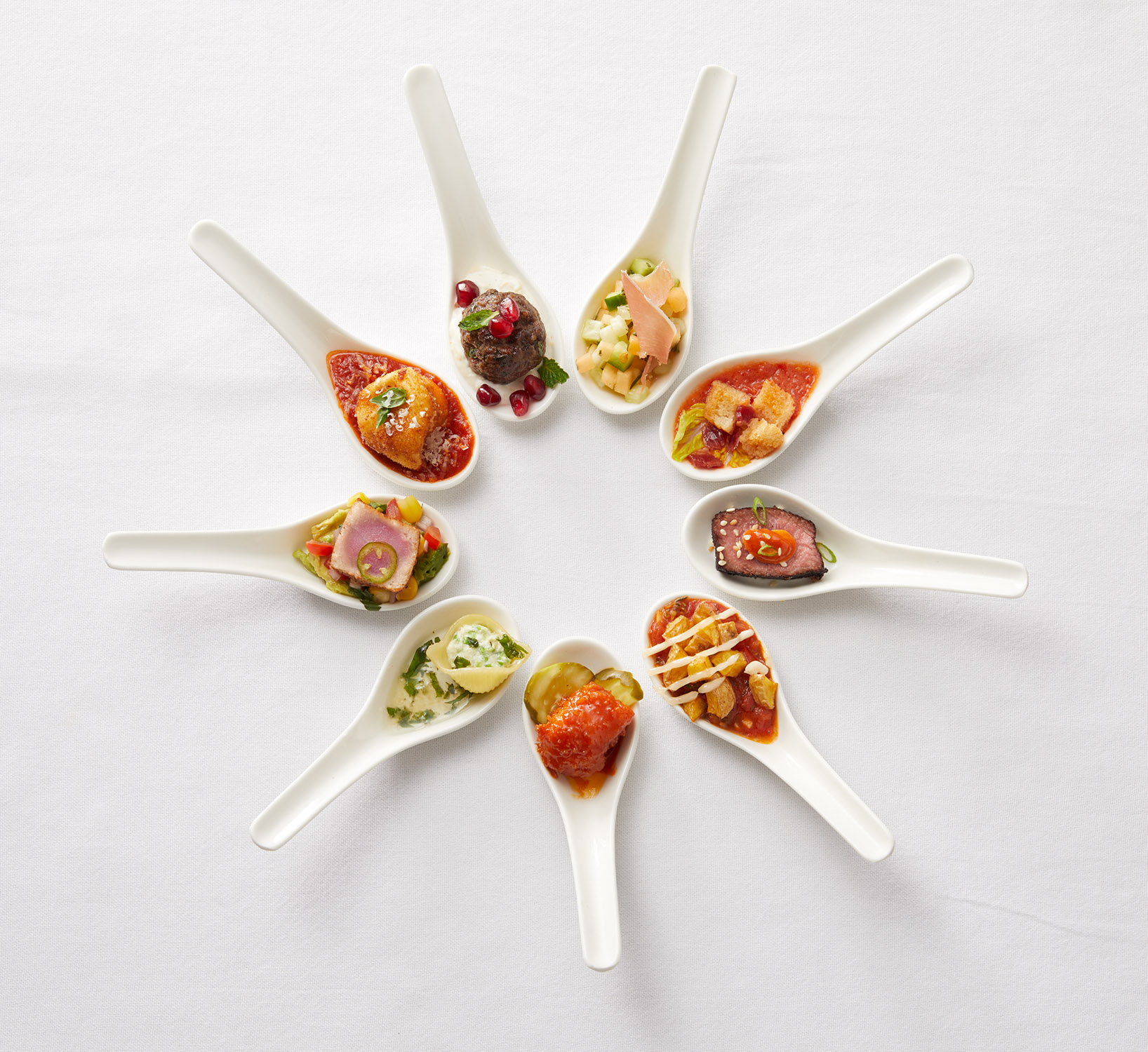 Appetizers on Spoons
