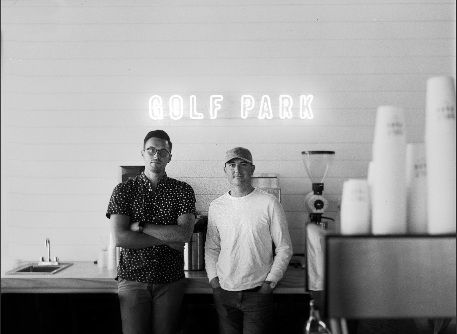Co-Founders Ben Young &Adam Shurr at Golf Park Coffee's shop on Bedford Avenue in Lynchburg.