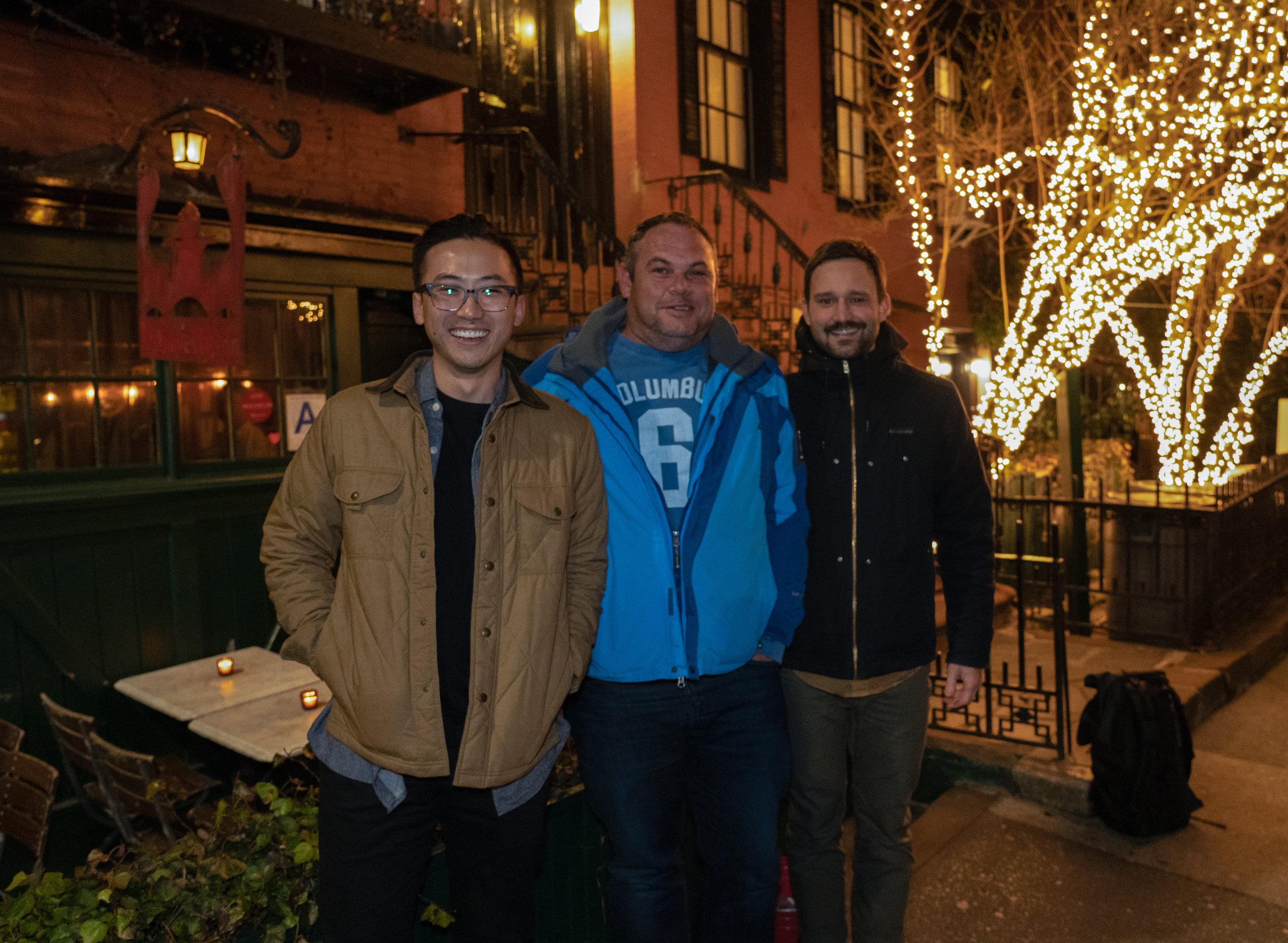 James Liu, Alwyn Naude Jr., and Nathanael Stanek in New York City.