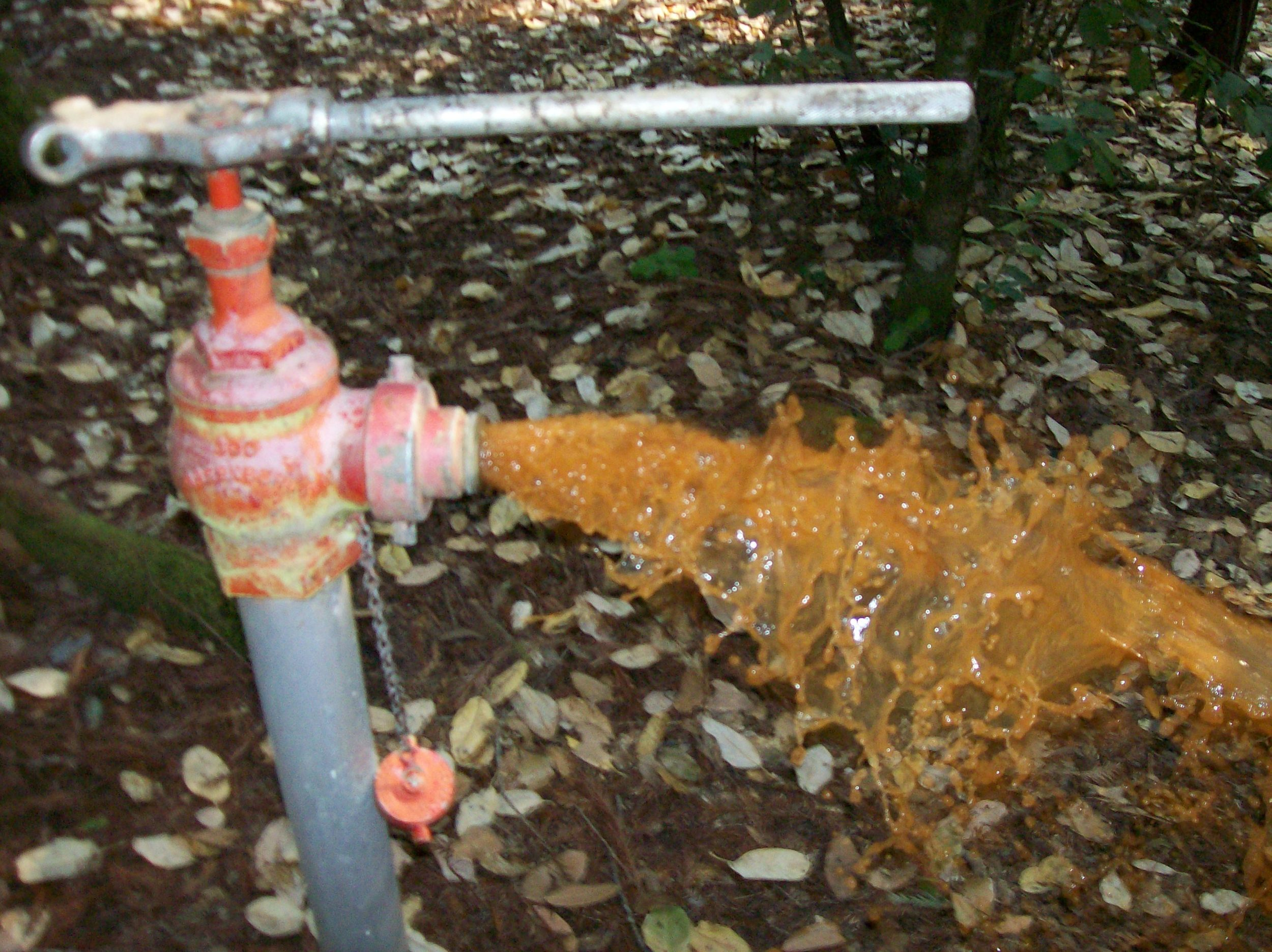 What it looked like when flushing out the old pipes.  Not good!