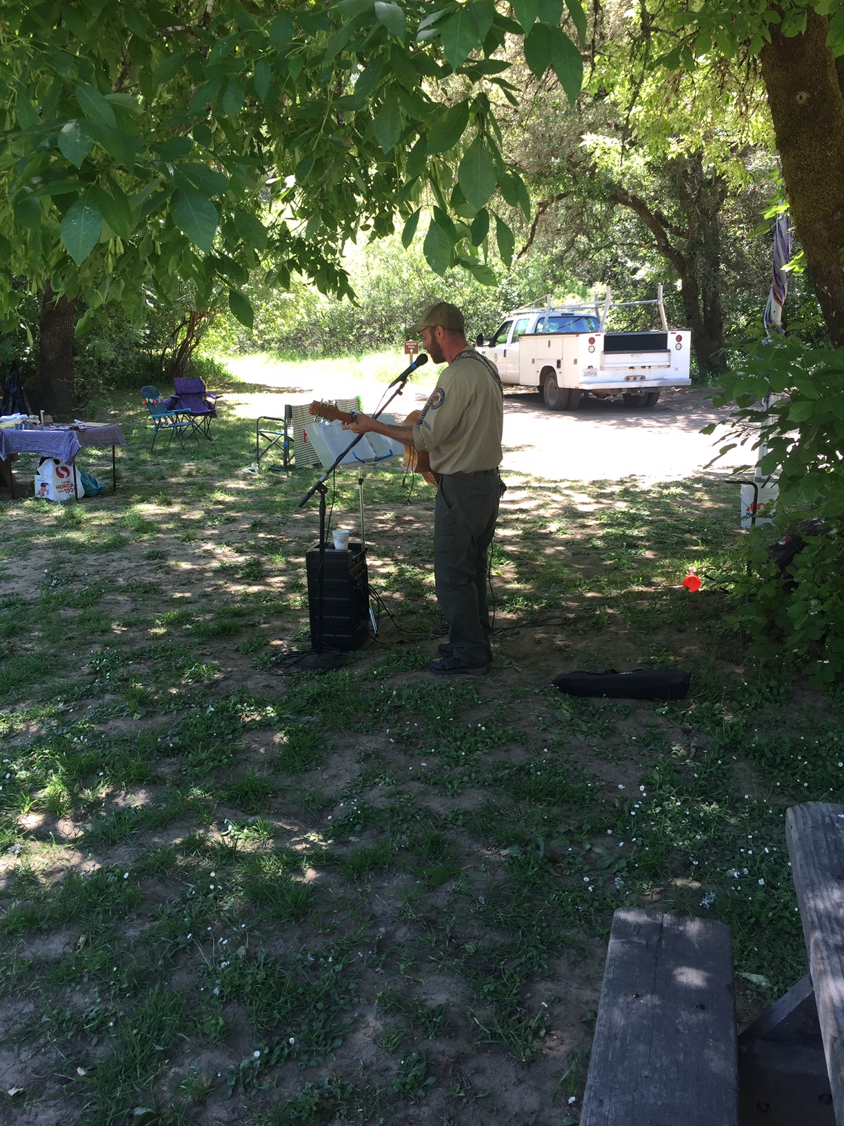 Interpretive Specialist Steve Jahelka filled the meadow with song