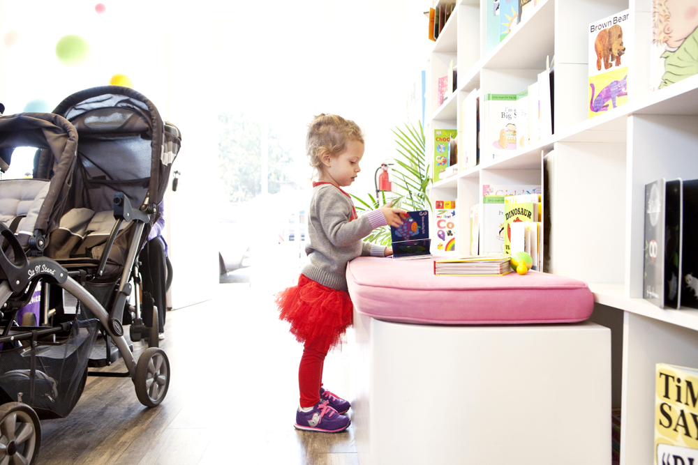Books are arranged at toddler height, so kids can easily select their faves.