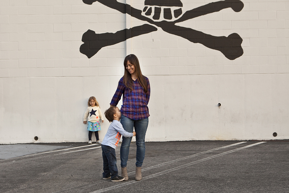 Amy yanow and her three-year-old twins, chloe and hudson