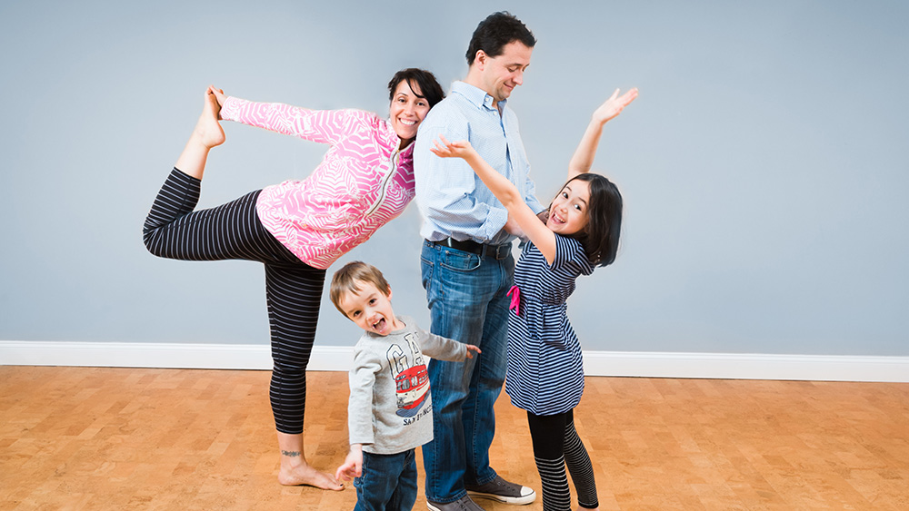 Pleasance and mel silicki with kidsmilo and saylor at lil omm yoga in washington dc's tenleytown