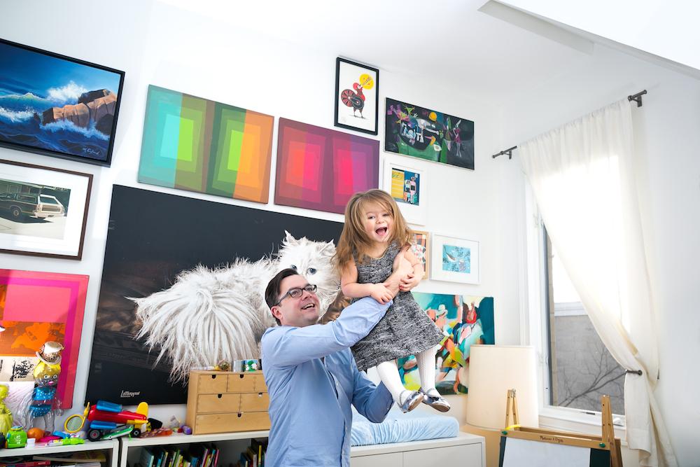 Andrew & kate in her art filled bedroom