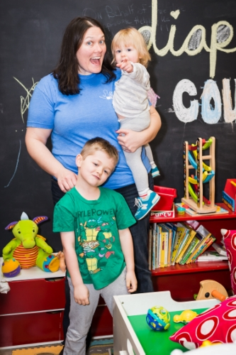Corinne cannon and her kids at the dc diaper bank