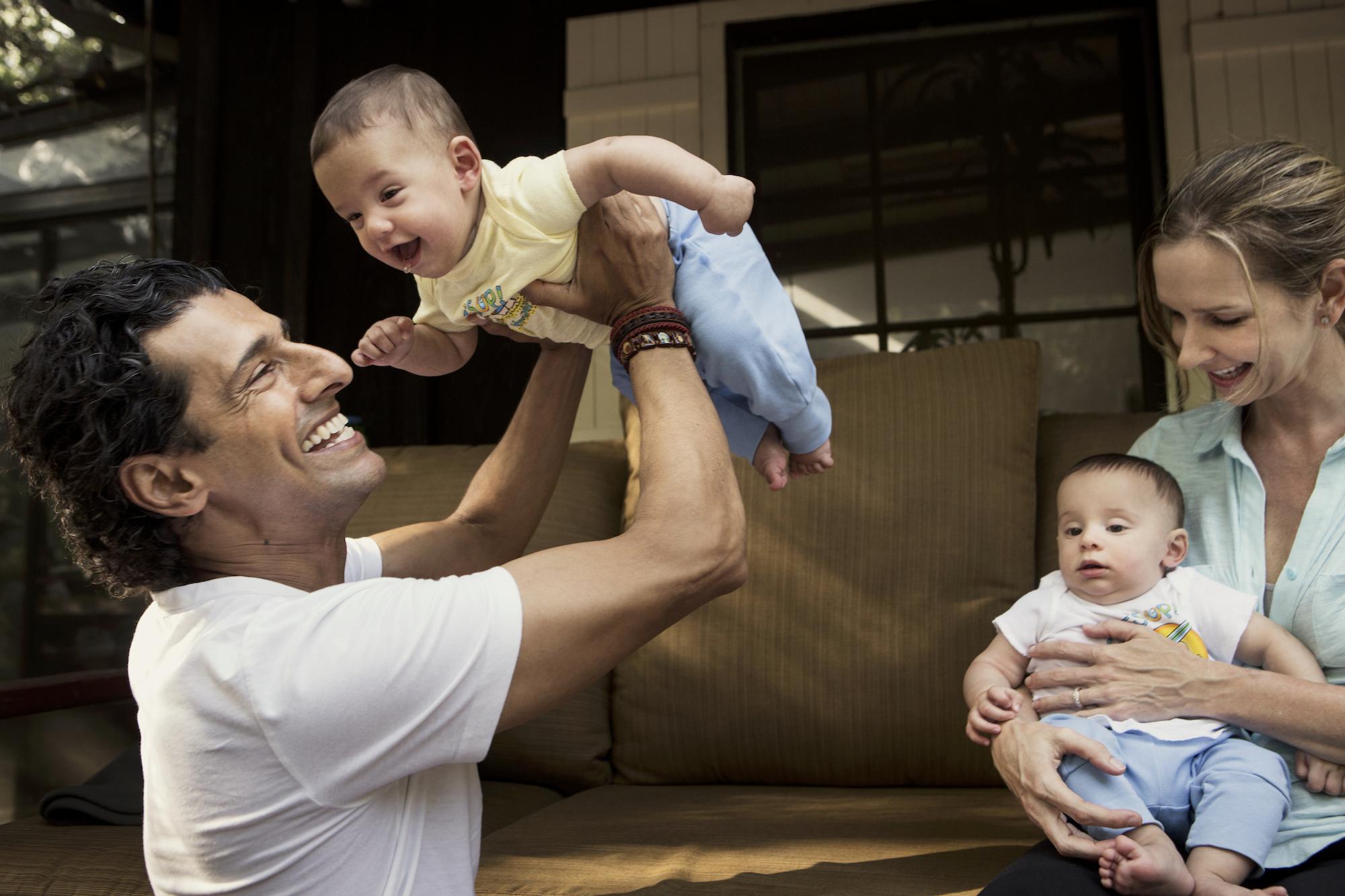 Kiran and MeiMei with twins, taj and zidan, at home in topanga, california