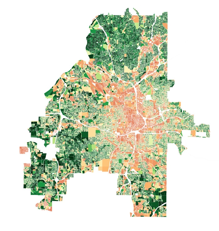 Lot Canopy Visualization  The greener the lot corresponds to a higher percentage of tree canopy coverage