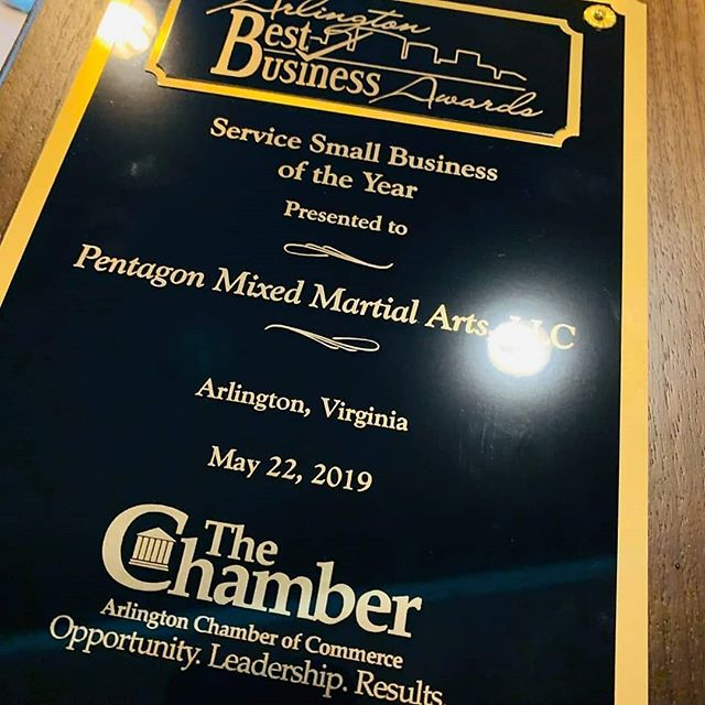 Dear Pentagon MMA Family,  We are honored to announce that Pentagon MMA is the winner of Arlington Chamber of Commerce - Virginia's 2019 Best Business of the Year Award in the Service category! The list of people that we have to thank for this is enormous and includes our staff team, students and their families, our very own family and friends, friends who have become family, our indispensable vendors and business allies, and of course the incredible Arlington community.  We opened Pentagon MMA seven years ago with big dreams, a whole lot of love, and a steadfast dedication to community leadership, philanthropy, changing lives, and redefining the experience of training at a mixed martial arts school. Today, this is a truly special place full of amazing individuals of all ages and walks of life that come together to support each other, grow, and inspire. We are truly grateful to all of you for allowing us to do what we do each and every day, and we are so excited about the future!  A huge congratulations to all of the award winners! We are humbled to be in such incredible company:  Dalton Digital – 2019 Home-Based Small Business of the Year  Bayou Bakery – 2019 Retail Small Business of the Year  HUNGRY – 2019 Technology Small Business of the Year  Signature Theatre – 2019 Nonprofit of the Year  Arlington Community Federal Credit Union – 2019 Large Business of the Year  With love, Diana and Vivek Nakarmi