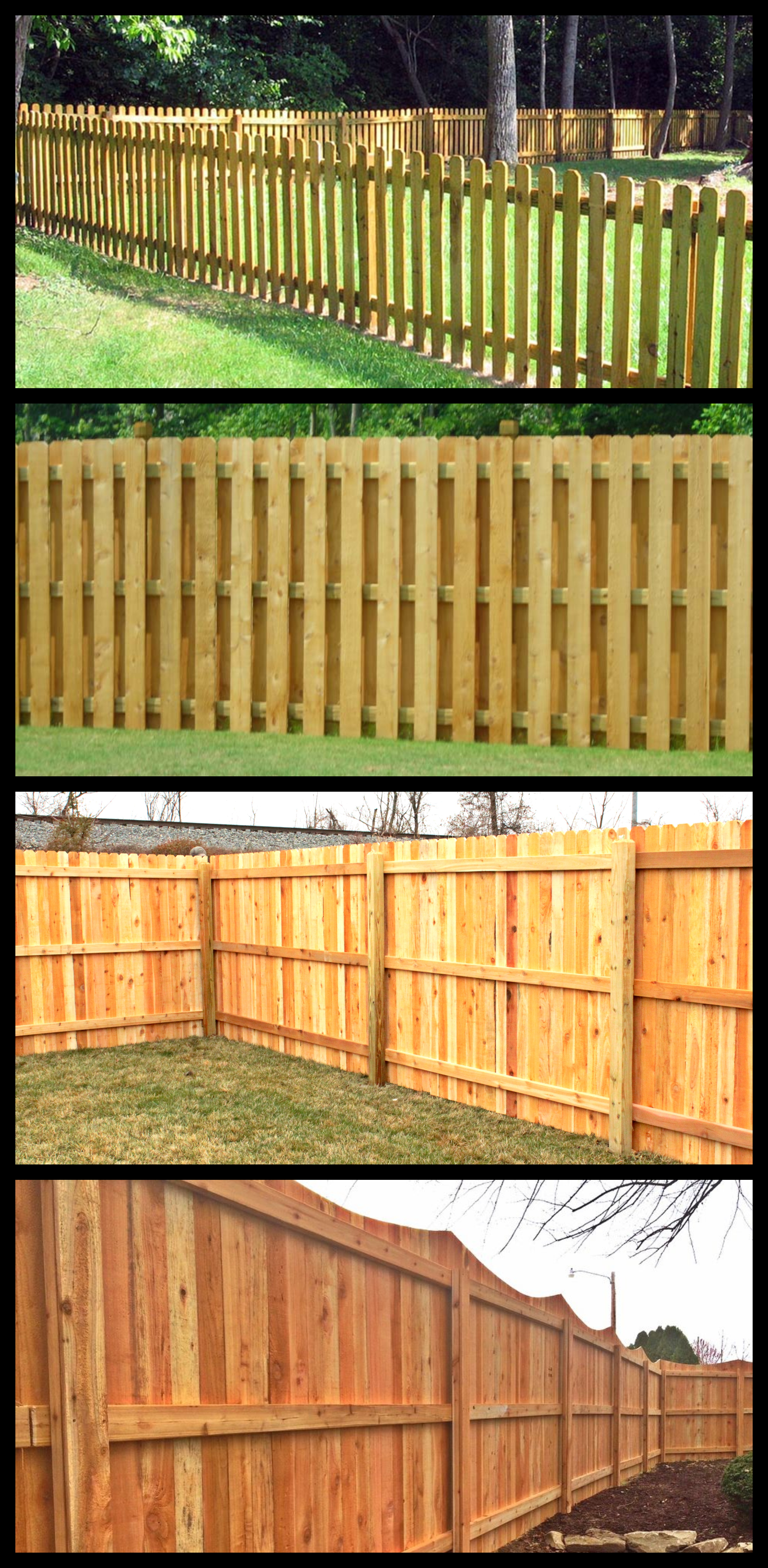 Wood - Wood fencing comes in a variety of forms and finishes. From simple to creative, the three main benefits of using wood fencing are its aesthetic value, its privacy and its longevity.Picket Fencing creates security while allowing some breathing room. This shorter fence allows for conversation and site-lines.Shadowbox Fencing gives increased durability and privacy while still permitting air and light to flow through.Privacy Fencing provides increased home value and privacy. It reduces street and environmental noise and gives a barrier to the elements. Privacy fencing comes in a variety of traditional and ornamental designs and heights.