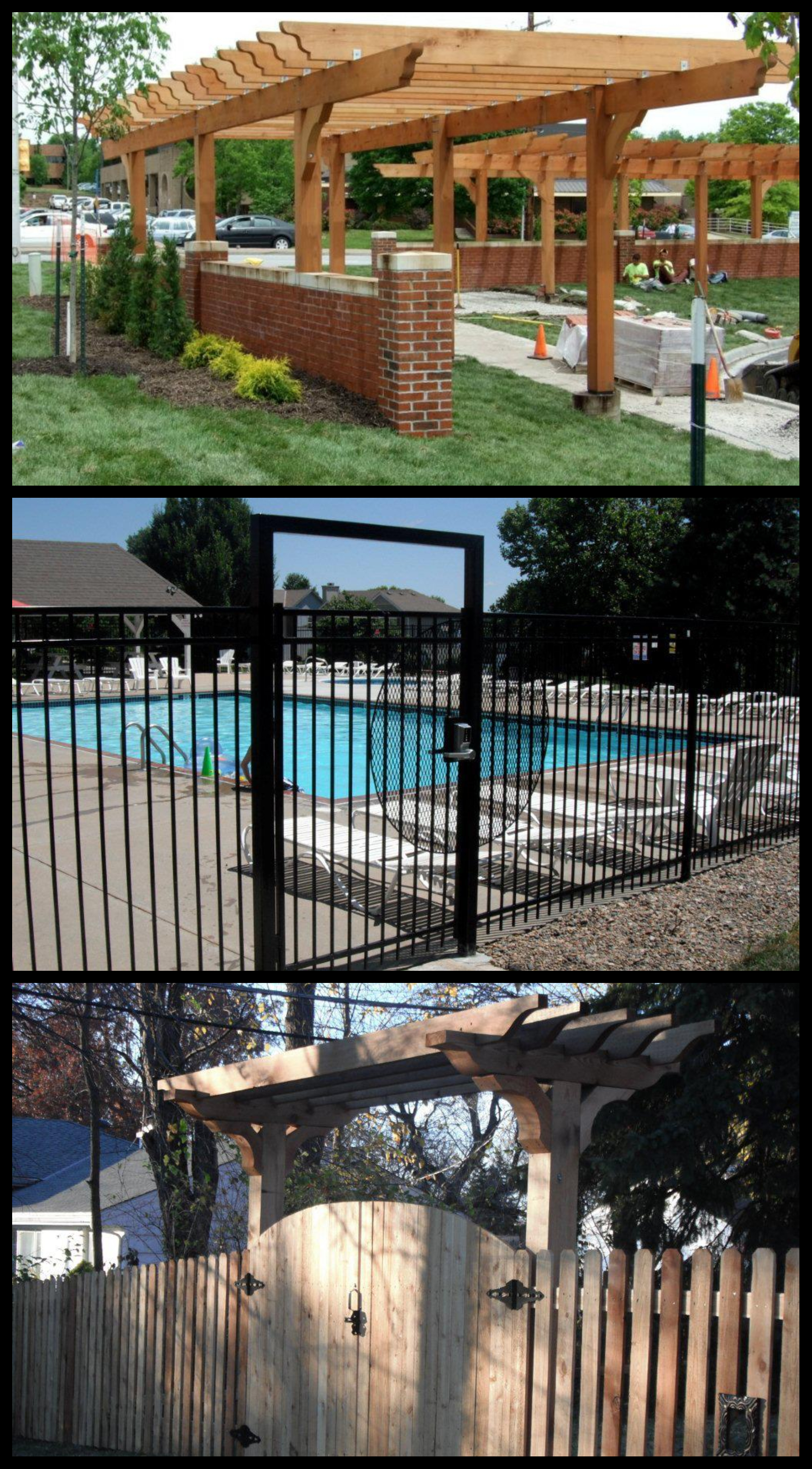 Pergolas and Custom Gates - Pergolas can add a creative and expensive flair to any outside space. Pergolas provide shade, protection from the elements and support creeping vegetation and center a gathering spaceCustom Gates add security and beauty to any fence line. Gates can be outfitted with a variety of security measure to ensure safety and controlled accessibility.