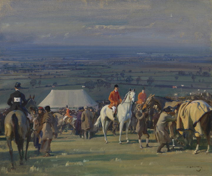 """Alfred James Munnings, """"The Belvoir Point-to-Point Meeting on Barrowby Hill, Painted on Woolsthorpe"""" (1920–21), oil on canvas. 25 x 30 inches, Paul Mellon Collection, Virginia Museum of Fine Arts, Richmond, image © Virginia Museum of Fine Arts."""