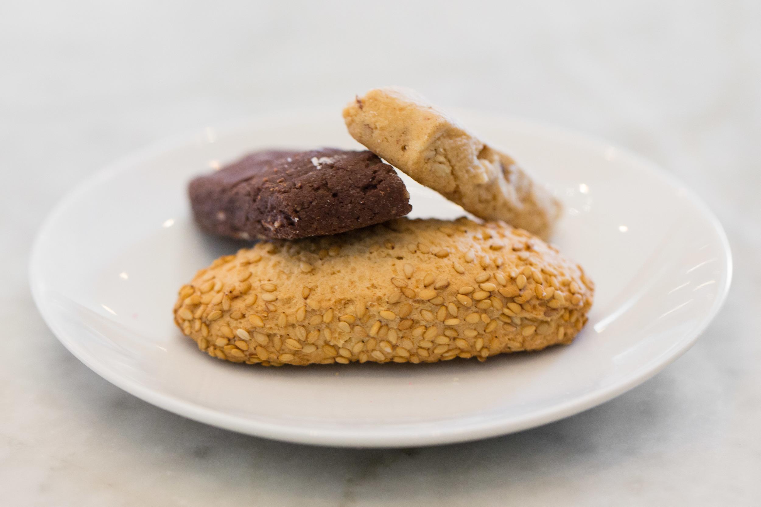 Mini chocolate, Almond and Sesame biscotti