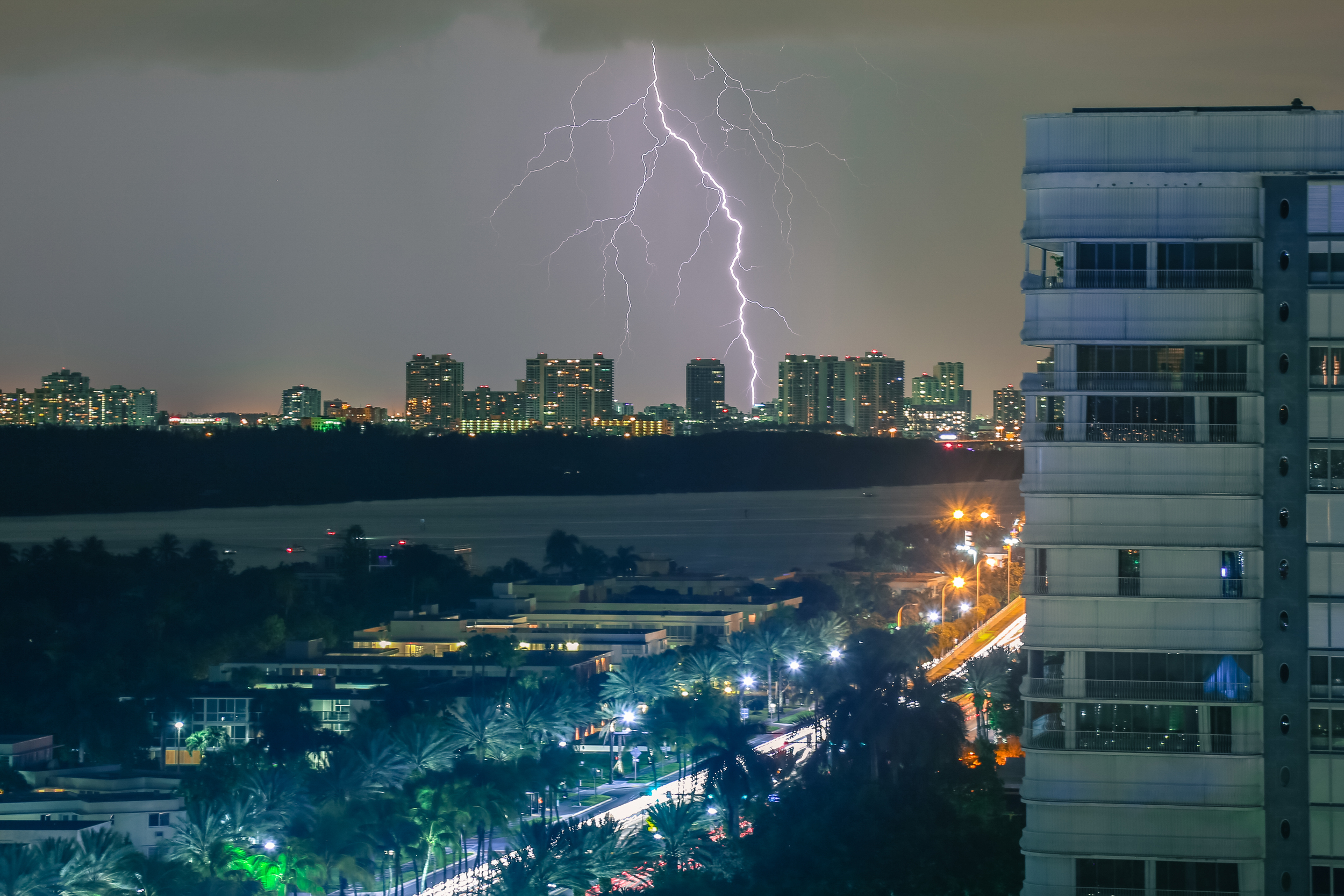 Lightening strikes in Miami Beach, Florida