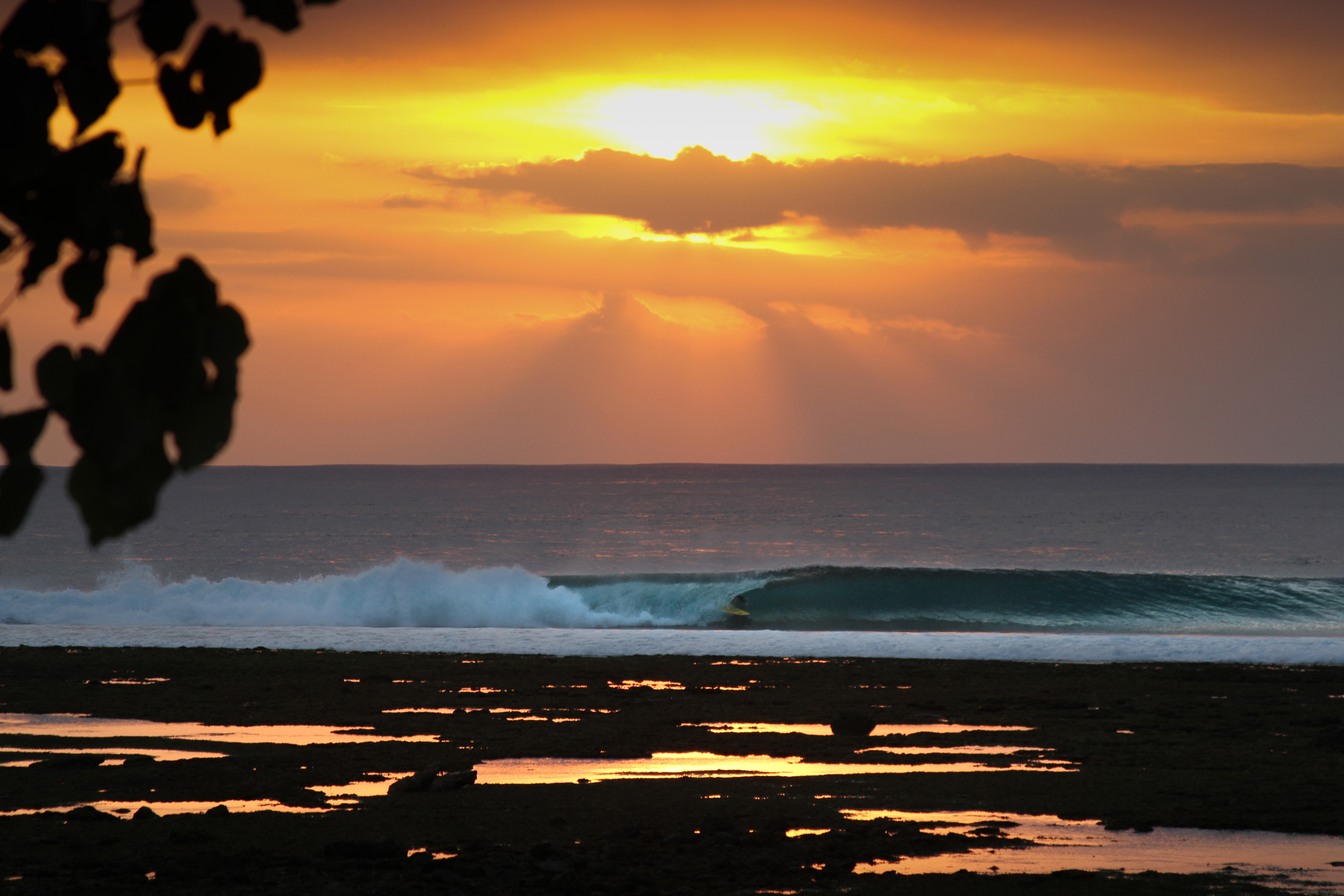 Sunset barrels at Desert Point, Lombok, Indonesia