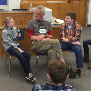 John leading a Teen Press workshop at Cotter School in Winona, MN