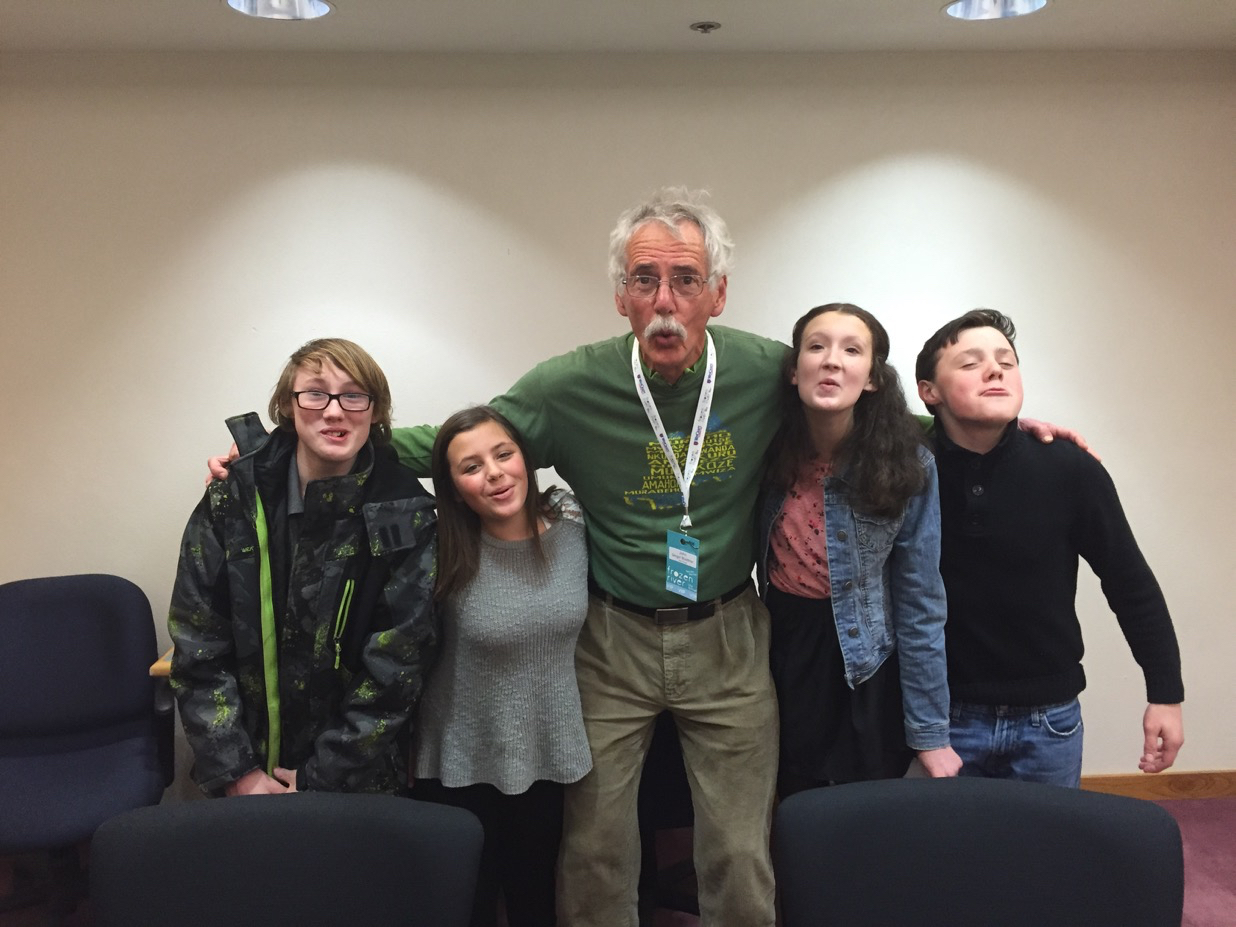 John and the Winona Teen Press Team, howling like wolves!