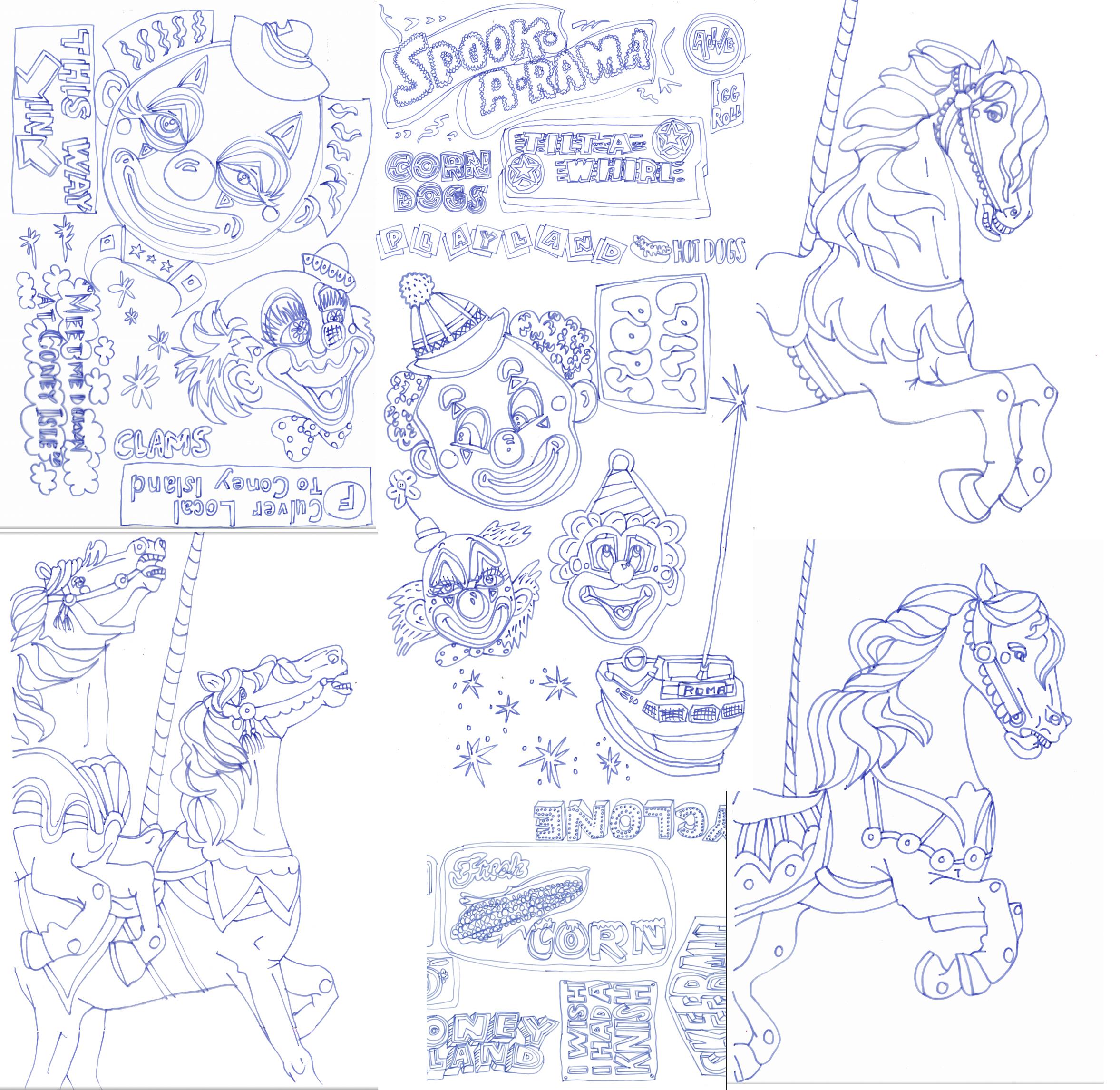Coney Island tracings for screenprint!