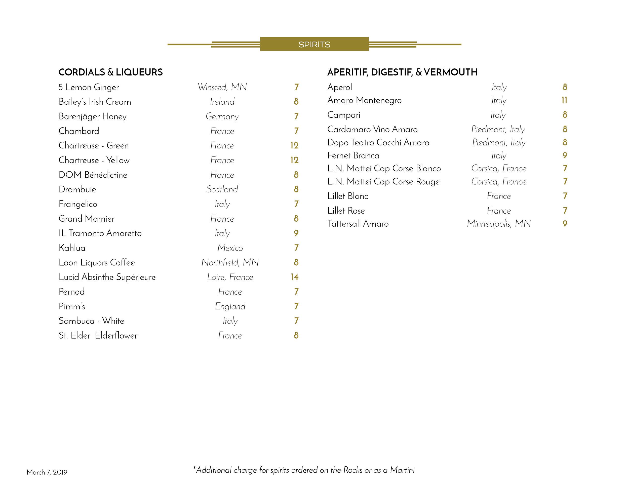 the commodore spirits menu liqueurs