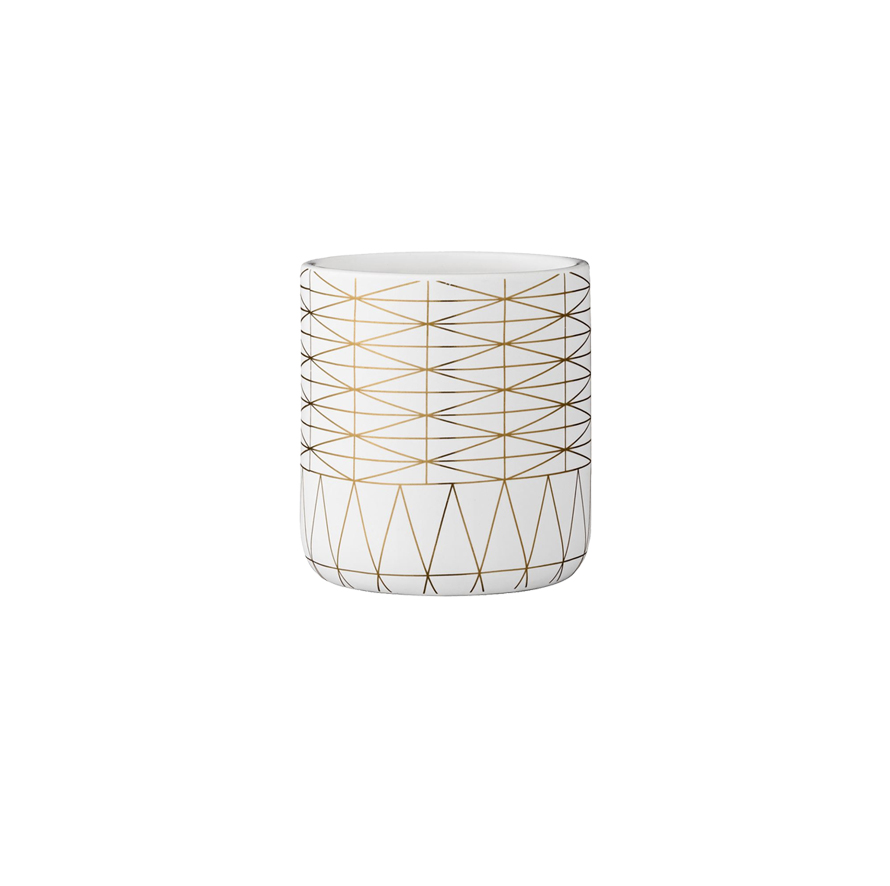 "Lines Ceramic Small Pot- 4"" dia x 4.5"" h"