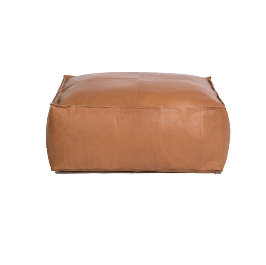 """Palma Leather Ottoman Pouf-36""""x36""""x14"""""""