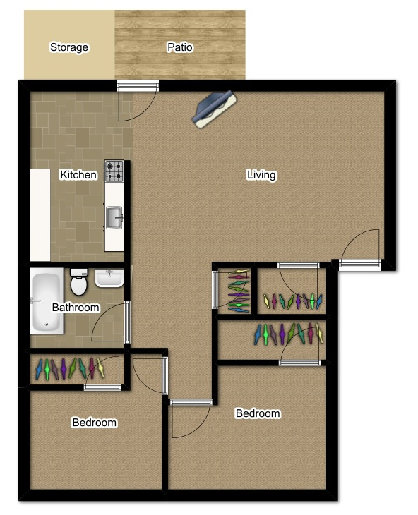 Two Bedroom 775 Sqft