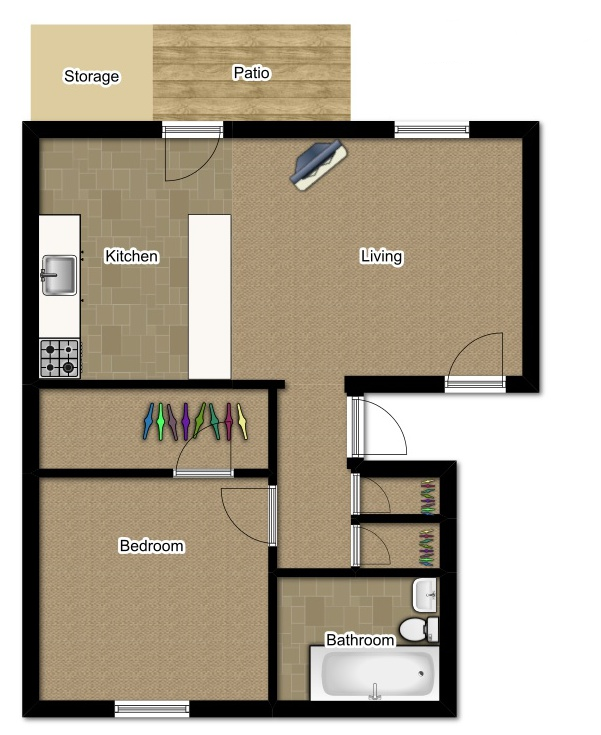 One Bedroom 610 Sqft