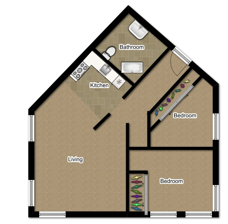 Two Bedroom 885 Sqft