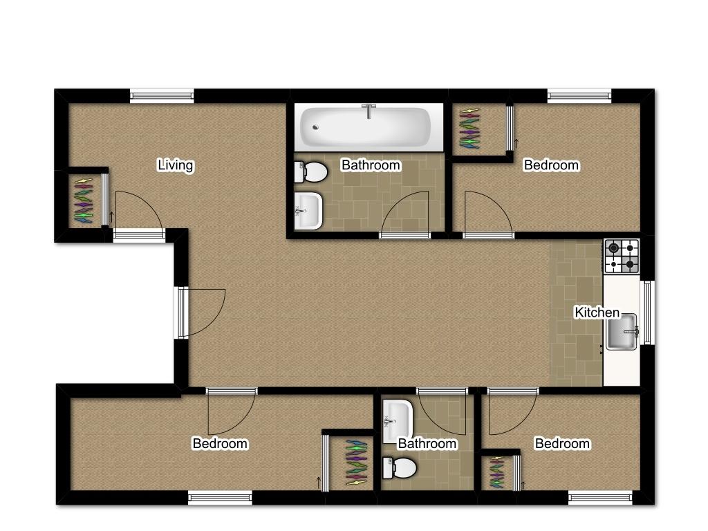 Three Bedroom 1200 sqft